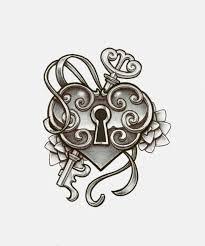 vintage heart locket tattoo heart lock key tattoo love the white