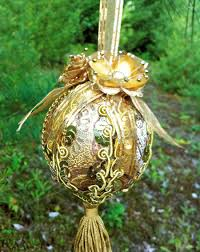 golden brocade victorian christmas ornament by daragallery on