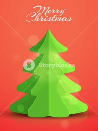 creative xmas tree made by paper cutout on shiny background can