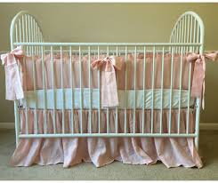 Crib Bedding Set With Bumper Pink Crib Bedding Set Ruffled Bumper With Sash Ties Gathered
