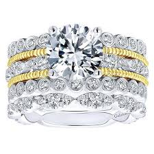 vintage fashion rings images 18k yellow and white gold stacked vintage style diamond engagement jpg