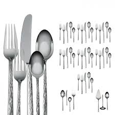 hammered stainless steel 47 piece flatware set discontinued
