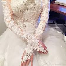 lace appliques long bridal gloves fingerless cheap wedding gloves