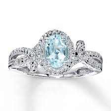 aquamarine engagement rings kay aquamarine ring oval cut with diamonds sterling silver
