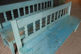 gorgeous original blue painted bench benches