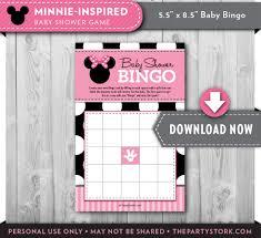 Baby Shower Printable Bingo Baby Shower Games Minnie Mouse Bingo Card Printable