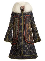 Peter Parka Graphic Embroidered Fur Trimmed Coat Peter Pilotto
