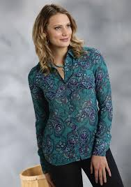 paisley blouse roper s teal paisley chiffon sleeve snap blouse