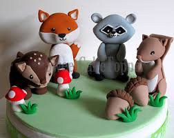 woodland cake toppers woodland animal cake toppers fox raccoon deer squirrel 1