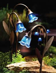 flower solar garden lights 3 bluebell glass ls copper stake