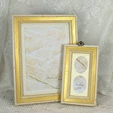 5x7 simple shabby chic white u0026 gold narrow photo frame