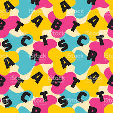 abstract background vector seamless pattern in design style 80s