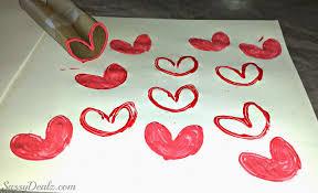 diy heart stamp using toilet paper rolls kids valentines craft