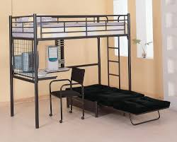 bedroom full size loft bed over futon and bunk bed with futon