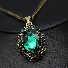 green color necklace set images Green crystal antique bronze color jewelry set necklace earrings jpg