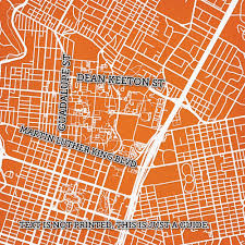Austin Marathon Map by University Of Texas At Austin Campus Map Art City Prints