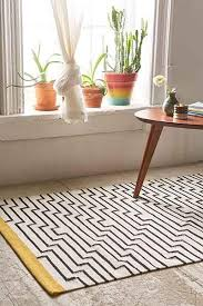Black White Rugs Modern Locust Patan Line Yellow White And Black Woven Rug