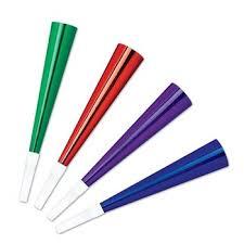 party horns pkgd foil party horns asstd colors 4 pkg kitchen