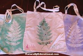 tree fern prints on reusable market bags naturally