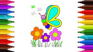 how to draw butterfly flower for tolders coloring bufterfly for