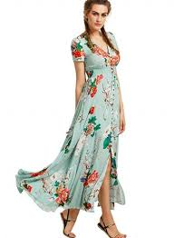 maxi dress with sleeves women s boho v neck high waist slit floral maxi dress novashe