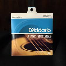 d addario ej16 phosphor bronze light acoustic guitar strings d addario ej16 phosphor bronze light 12 53