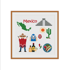 Home Decoration Pdf by Mexican Cross Stitch Mexico Mexico Map Mayan Pyramid Cactus