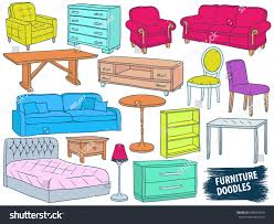 furniture doodles set interior design sketch stock vector