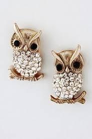 owl earrings zad silvertone rhinestone owl stud earrings studs this