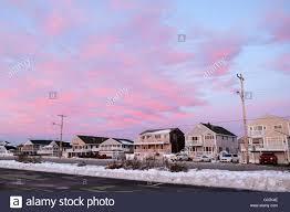 winter sunset hampton beach new hampshire stock photo royalty