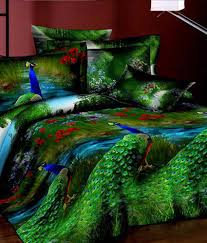 3d Print Bed Sheets Online India Fabhomes Peacock Print 3d High Quality Double Bedsheet Sets Buy