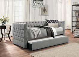 Twin Size Sofa Beds by Adalie Grey Polyester Twin Size Daybed W Nailhead Trim U0026 Button