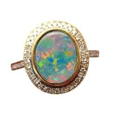 opal diamond rings exquisite large opal diamond gold sterling ring