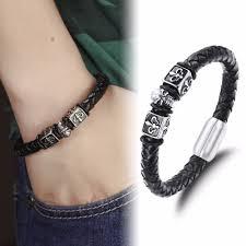 hand bracelet men images Leather bracelet men stainless steel leather hand woven bracelet jpg