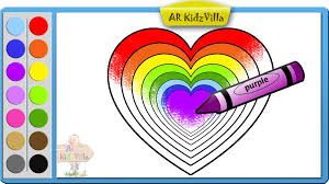 learn colors for kids and color rainbow heart coloring page pt