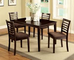 eaton i espresso finish 5pc dining set w padded microfiber seat