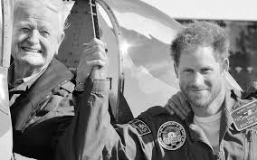 prince harry poses with battle of britain veteran on 2015