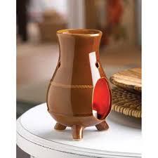 brown earthen oven oil warmer holder burner tealight candle