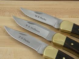 engraved buck knives engraved buck 110 folding knife 6 knife set