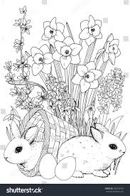 easter coloringpage easter bunny spring flowers stock vector