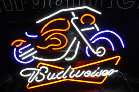 Neon Bar Lights Budweiser Beer Motorcycle Design Bar Arts Neon Lights Signs Led