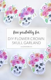halloween party title free printables halloween flower crown skull garland es kaa