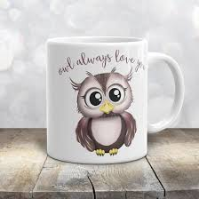 owl mug owl always you pink and brown owl mug 11oz or 15oz