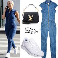 bebe jumpsuit bebe rexha denim jumpsuit white sneakers style