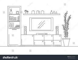 linear sketch interior bookcase dresser tv stock vector 657949474