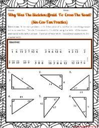 triangles trigonometry sin cos tan halloween riddle worksheet