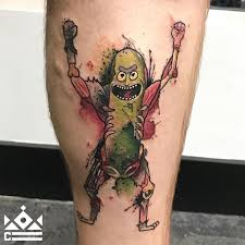 watercolor pickle rick by jeff at certified tattoo studios denver