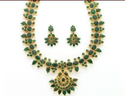 emerald gold necklace images Jewellery designs emerald gold necklace sets jpg