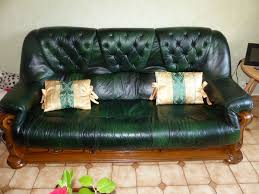 canap cuir vert canape 3 places cuir vert bouteille clasf