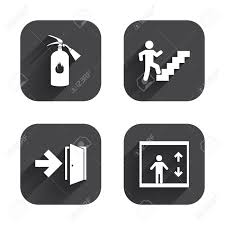 emergency exit icons fire extinguisher sign elevator or lift